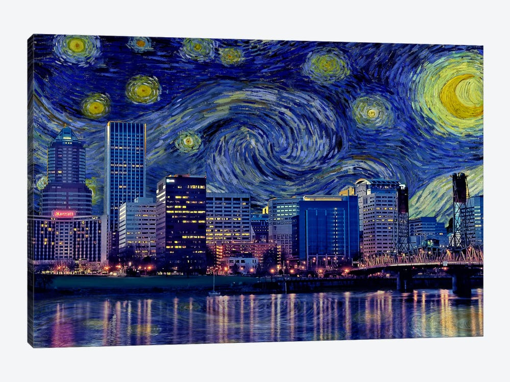 Portland, Oregon Starry Night Skyline by 5by5collective 1-piece Canvas Wall Art