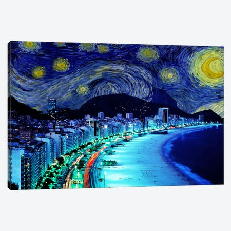 Rio De Janeiro, Brazil Starry Night Skyline Canvas Print #SKY122} by iCanvas Art Print