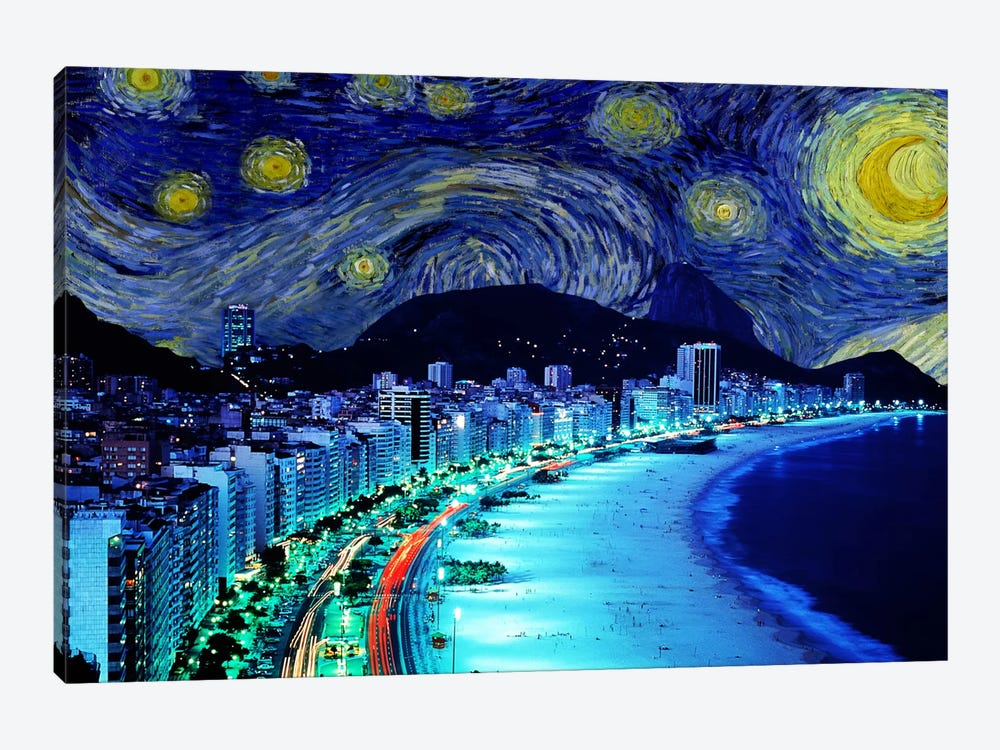 Rio de Janeiro, Brazil Starry Night Skyline by 5by5collective 1-piece Canvas Print