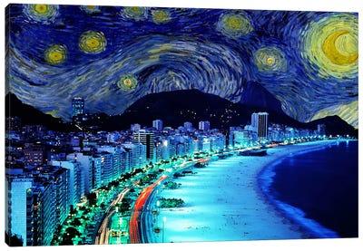 Rio de Janeiro, Brazil Starry Night Skyline Canvas Art Print