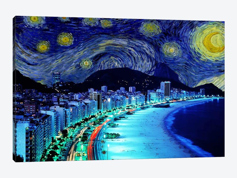 Rio de Janeiro, Brazil Starry Night Skyline by 5by5collective 1-piece Canvas Print