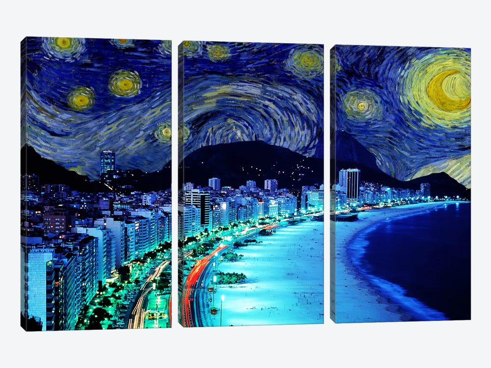 Rio de Janeiro, Brazil Starry Night Skyline by 5by5collective 3-piece Art Print