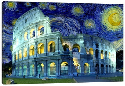 Rome, Italy Colosseum Starry Night Skyline Canvas Print #SKY123