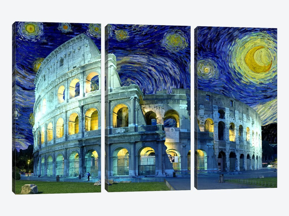 Rome (Colosseum), Italy Starry Night Skyline by 5by5collective 3-piece Canvas Wall Art
