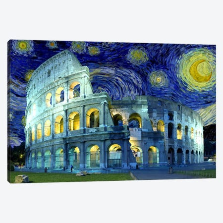 Rome (Colosseum), Italy Starry Night Skyline Canvas Print #SKY123} by 5by5collective Canvas Print
