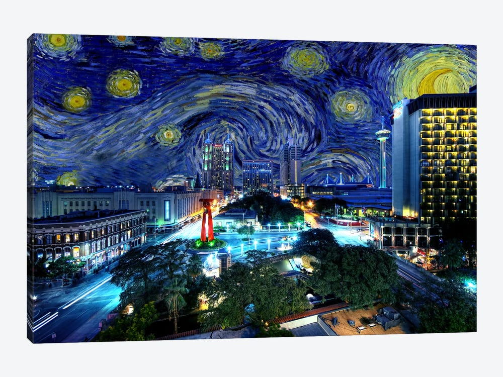 San Antonio, Texas Starry Night Skyline by 5by5collective 1-piece Canvas Print