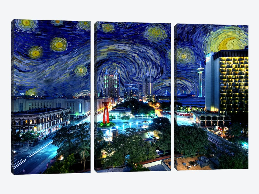 San Antonio, Texas Starry Night Skyline by 5by5collective 3-piece Art Print