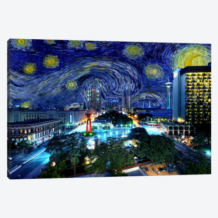 San Antonio, Texas Starry Night Skyline Canvas Print #SKY124} by 5by5collective Canvas Artwork