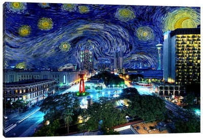 San Antonio, Texas Starry Night Skyline Canvas Art Print