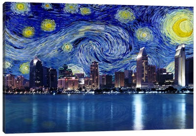 San Diego, California Starry Night Skyline Canvas Art Print