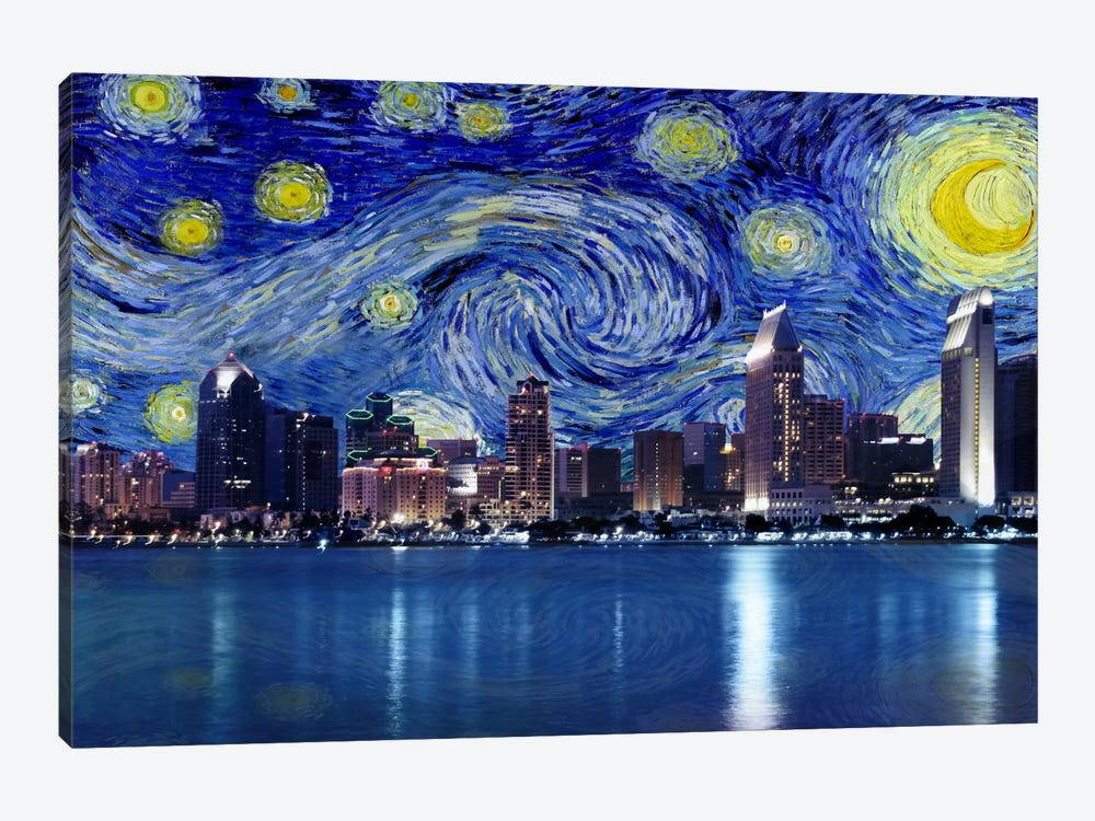 San Diego, California Starry Night Skyline by 5by5collective 1-piece Canvas Artwork