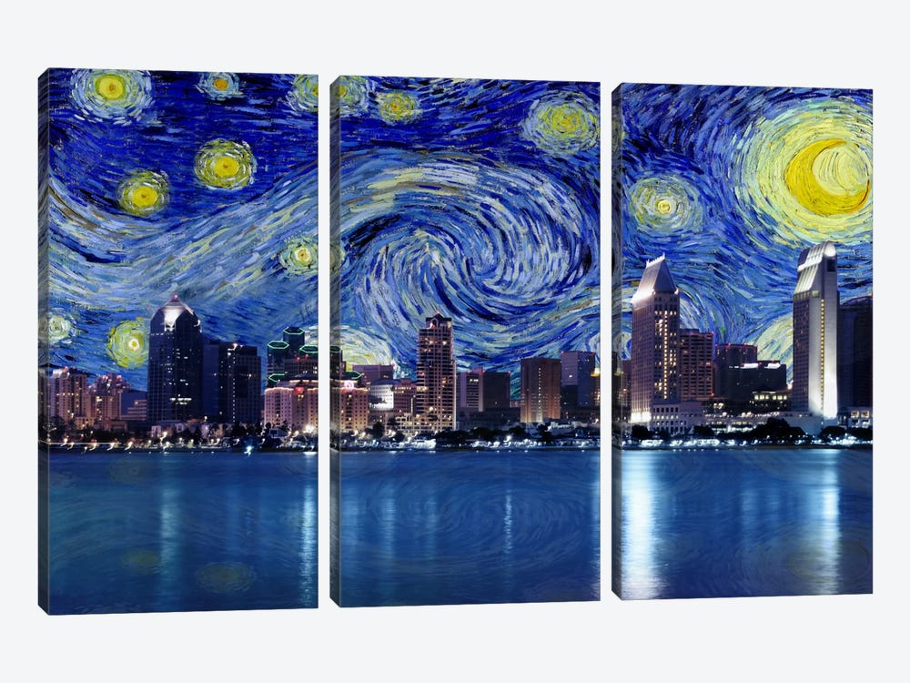 San Diego, California Starry Night Skyline by 5by5collective 3-piece Canvas Wall Art