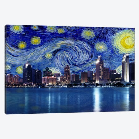 San Diego, California Starry Night Skyline Canvas Print #SKY125} by 5by5collective Canvas Art