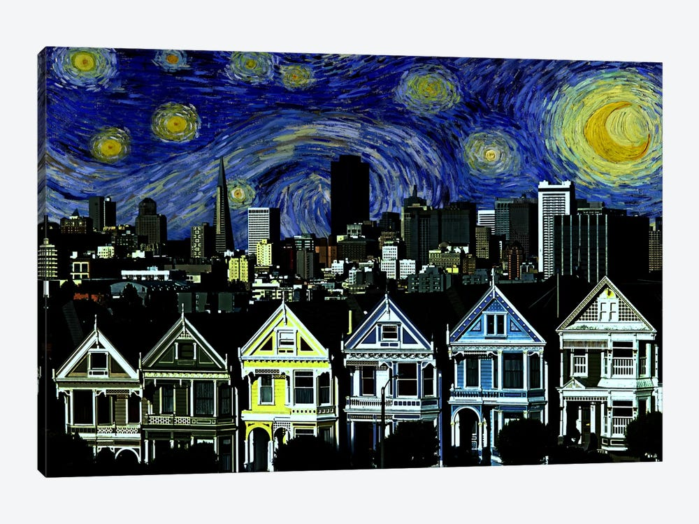 San Francisco, California Starry Night Skyline by 5by5collective 1-piece Art Print