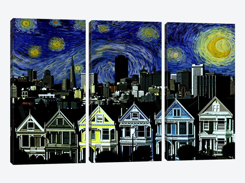 San Francisco, California Starry Night Skyline by 5by5collective 3-piece Art Print