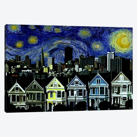 San Francisco, California Starry Night Skyline Canvas Print #SKY126} by 5by5collective Canvas Art