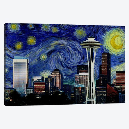 Seattle, Washington Starry Night Skyline Canvas Print #SKY127} by 5by5collective Canvas Art