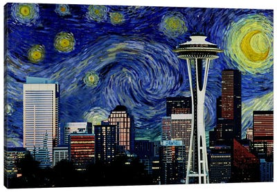Seattle, Washington Starry Night Skyline Canvas Art Print