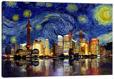 Shanghai, China - Starry Night Skyline Canvas Print #SKY128
