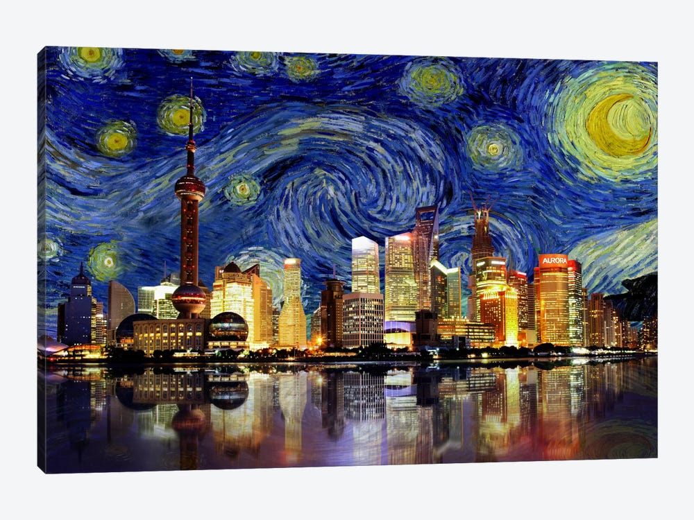Shanghai, China - Starry Night Skyline by iCanvas 1-piece Art Print