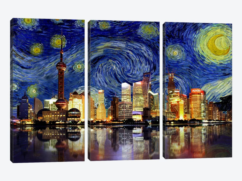 Shanghai, China - Starry Night Skyline by iCanvas 3-piece Canvas Print