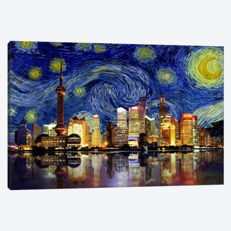 Shanghai, China - Starry Night Skyline 3-Piece Canvas #SKY128} by 5by5collective Art Print