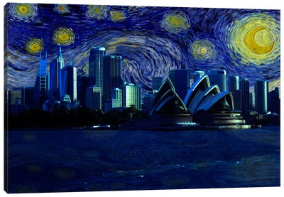 Sydney, Australia Starry Night Skyline Canvas Art Print