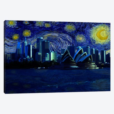 Sydney, Australia Starry Night Skyline Canvas Print #SKY129} by 5by5collective Canvas Art Print