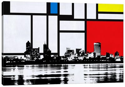 Memphis, Tennessee Skyline with Primary Colors Background Canvas Print #SKY12