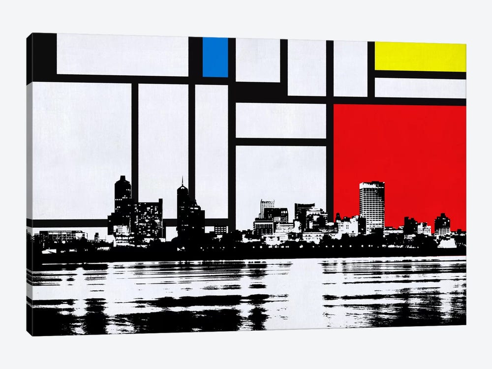 Memphis, Tennessee Skyline with Primary Colors Background by Unknown Artist 1-piece Art Print