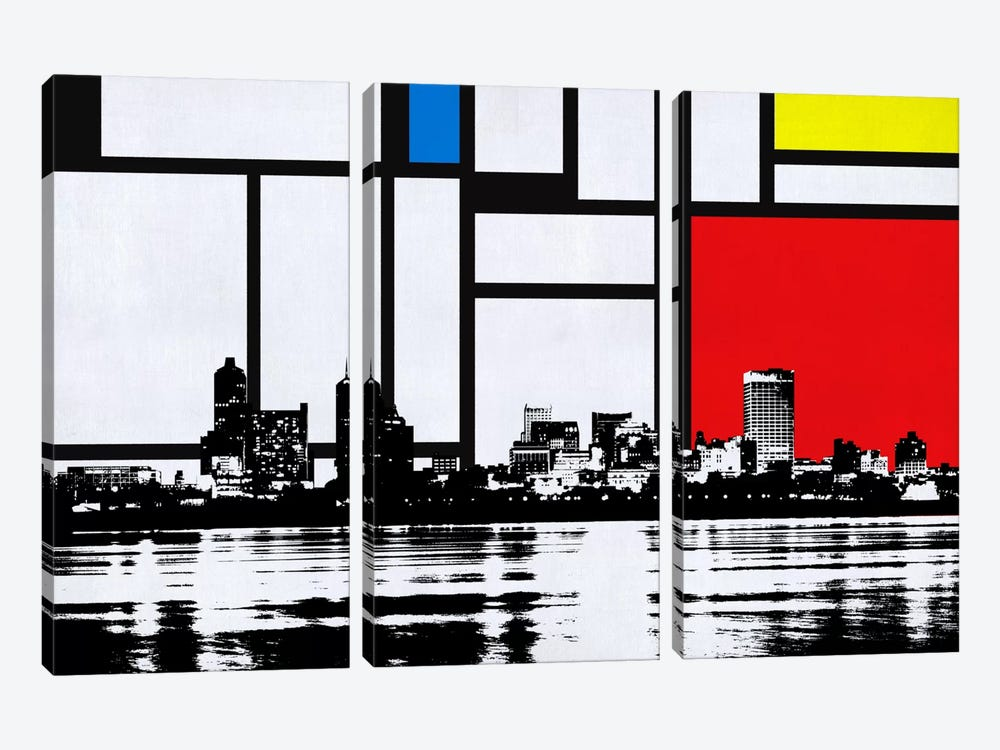 Memphis, Tennessee Skyline with Primary Colors Background by iCanvas 3-piece Canvas Print