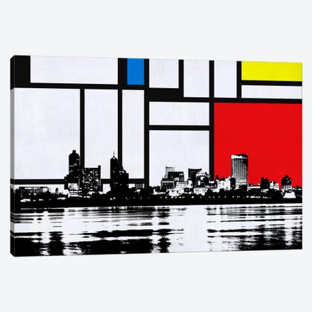 Memphis, Tennessee Skyline with Primary Colors Background Canvas Print #SKY12} by Unknown Artist Canvas Wall Art