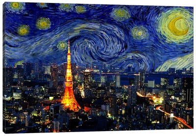 Tokyo, Japan Starry Night Skyline Canvas Art Print