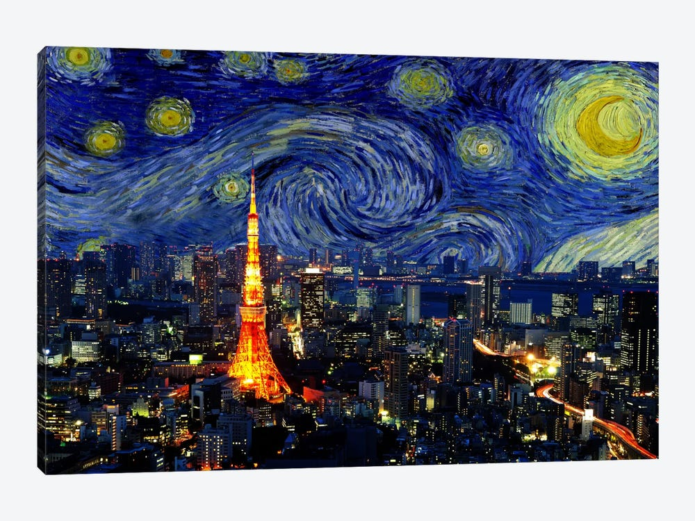 Tokyo, Japan Starry Night Skyline by 5by5collective 1-piece Canvas Art