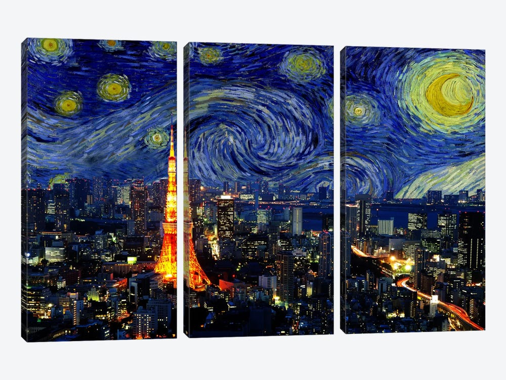 Tokyo, China Starry Night Skyline by iCanvas 3-piece Canvas Artwork