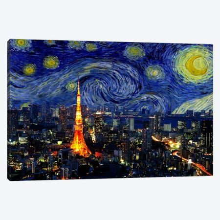 Tokyo, Japan Starry Night Skyline Canvas Print #SKY130} by 5by5collective Canvas Wall Art