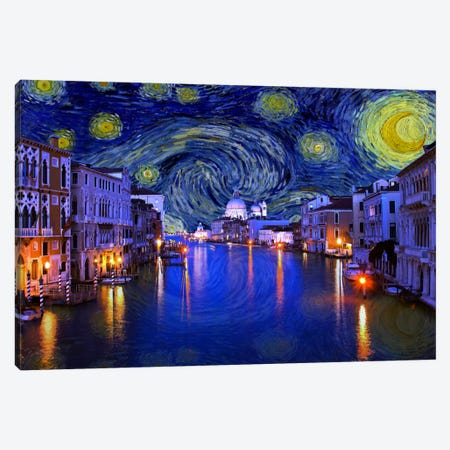 Venice, Italy Starry Night Skyline Canvas Print #SKY131} by 5by5collective Canvas Art