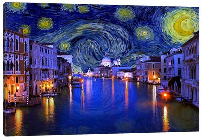 Venice, Italy Starry Night Skyline Canvas Art Print
