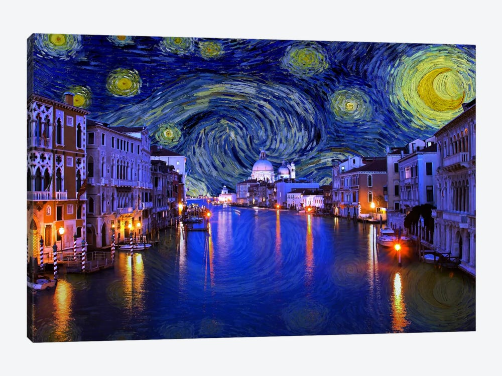 Venice, Italy Starry Night Skyline by 5by5collective 1-piece Canvas Art Print