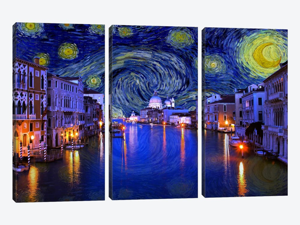 Venice, Italy Starry Night Skyline by 5by5collective 3-piece Canvas Art Print