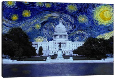 Washington, D.C. Starry Night Skyline Canvas Art Print