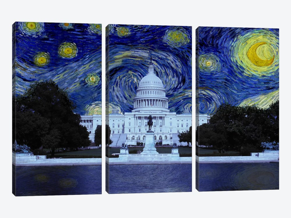 Washington, D.C. Starry Night Skyline by 5by5collective 3-piece Canvas Art