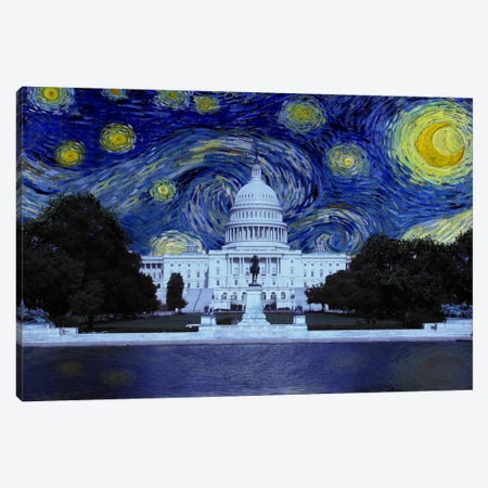 Washington, D.C. Starry Night Skyline Canvas Print #SKY132} by 5by5collective Canvas Artwork