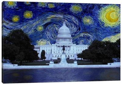 Washington, D.C. Starry Night Skyline Canvas Art Print