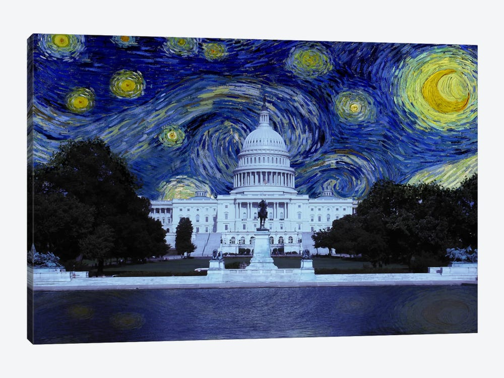 Washington, D.C. Starry Night Skyline by 5by5collective 1-piece Canvas Artwork