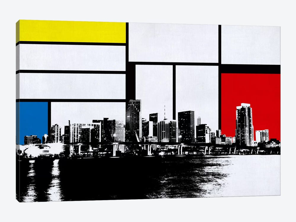 Miami, Florida Skyline with Primary Colors Background by Unknown Artist 1-piece Canvas Art