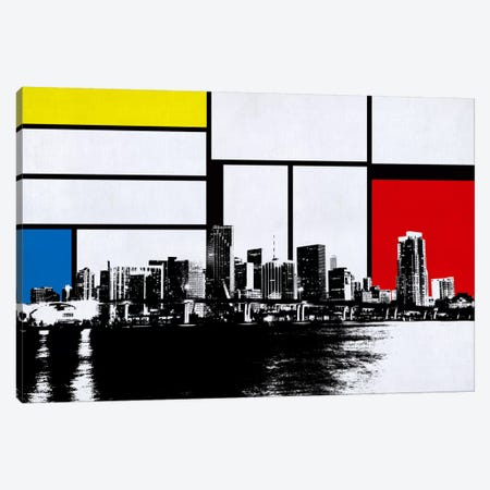 Miami, Florida Skyline with Primary Colors Background Canvas Print #SKY13} by Unknown Artist Canvas Wall Art
