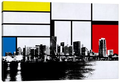 Miami, Florida Skyline with Primary Colors Background Canvas Art Print