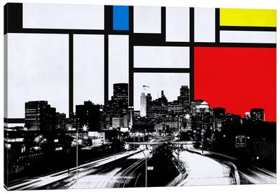 Minneapolis, Minnesota Skyline with Primary Colors Background Canvas Print #SKY14
