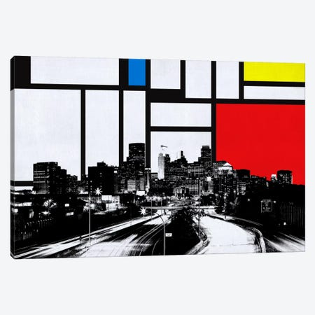 Minneapolis, Minnesota Skyline with Primary Colors Background 3-Piece Canvas #SKY14} by Unknown Artist Art Print